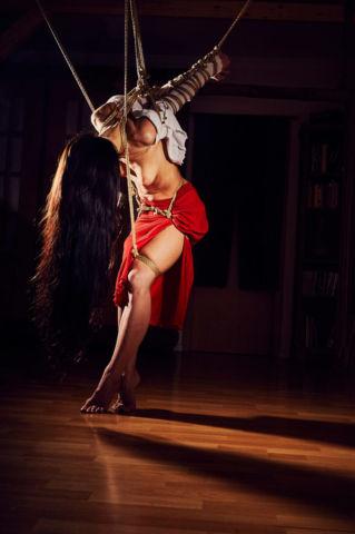 Strappado arm binder red skirt Kinbaku Photography